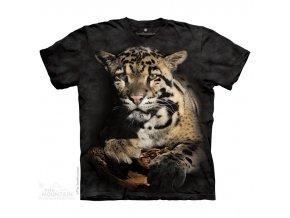 tričko, leopard, černé, batikované, potisk, mountain
