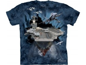 tričko, military, letadlová loď, potisk, batikované, mountain