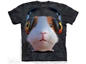 dětské tričko-bavlněné-batikované-potisk-sluchátka-morče