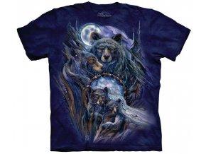 Tričko indiánské medvěd potisk batikované