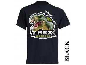 levne-detske-tricko-cerne-monster-dinosaurus-tyranosaurus