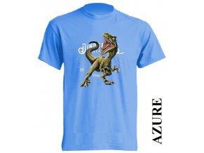 levne-detske-tricko-azurove-modre-potisk-dinosaurus-raptor