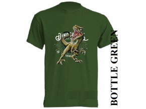 levne-detske-tricko-tmave-zelene-potisk-dinosaurus-raptor