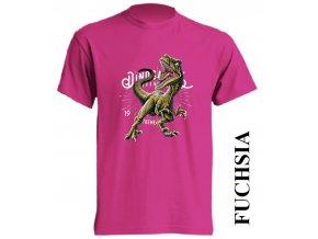 levne-detske-tricko-tmave-ruzove-potisk-dinosaurus-raptor