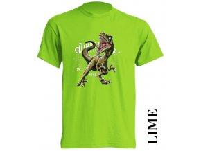 levne-detske-tricko-limetkove-zelene-potisk-dinosaurus-raptor