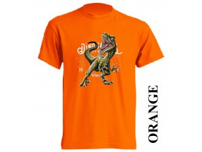 levne-detske-tricko-oranzove-potisk-dinosaurus-raptor