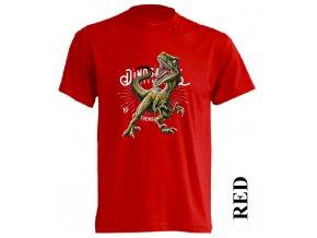 levne-detske-tricko-cervene-potisk-dinosaurus-raptor