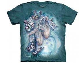 tričko, jednorožec, motýl, batikované, potisk, fantasy