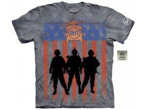 tričko-tři vojáci-vlajka usa-batikované-potisk-military