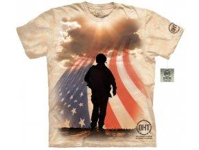 tričko, military, voják, batikované, potisk, vlajka usa