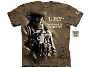 Tričko, military, americký voják, potisk, batikované, mountain