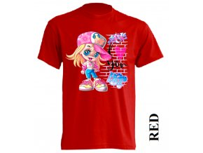 levne-detske-tricko-cervene-potisk-miluji-barbie-graffiti