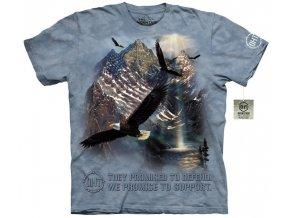 tričko, letící orel, hory, batikované, potisk, mountain