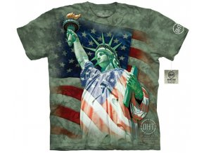 tričko-socha svobody-americká vlajka-batikované-potisk-mountain