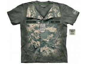 tričko, military, uniforma, batikované, potisk, mountain
