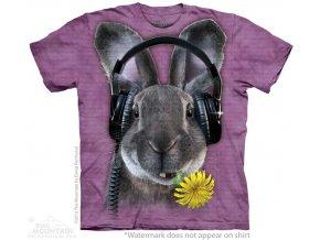 dětské tričko-bavlněné-batikované-potisk-sluchátka-králík