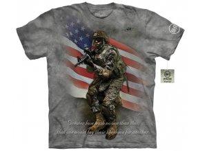 tričko, military, voják, batikované, potisk, usa
