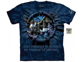 tričko-military-orel-usa vlajka-batikované-potisk