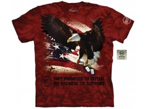 tričko, psí známky, military, batikované, potisk, usa vlajka