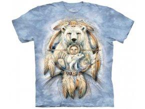 tričko, indiánské, medvěd, potisk, batikované, amulet