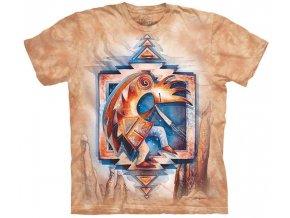 tričko, indiánské, malba, batikované, potisk, mountain