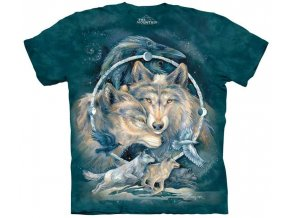 tričko, indiánské, vlci, batikované, potisk, amulet