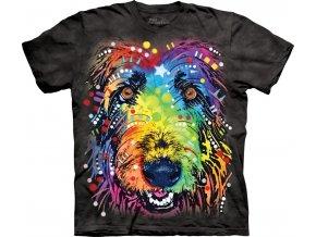 tričko, pes, irský vlkodav, potisk, batikované, russo