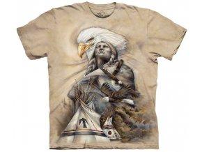 tričko, indián, orel, batikované, potisk, tee pee