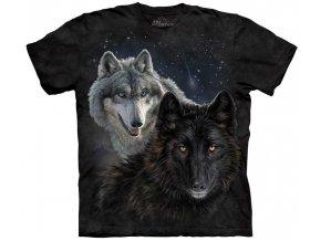 tričko, bílý vlk, černý vlk, potisk, batikované, černé