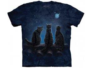 tričko, kočky hvězdy, potisk, batikované, mountain