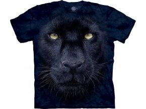 tričko, černá puma, 3d, batikované, potisk, mountain