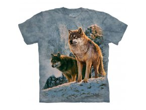 tričko-dva vlci-hlídka-batikované-potisk-mountain