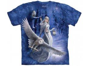 tričko, sova, dívka, batikované, potisk, mountain