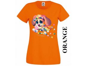 levne-damske-tricko-pejsek-korálek-oranzove