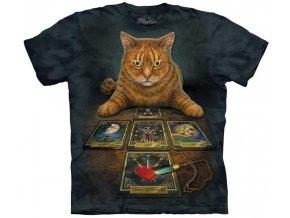 tričko, tarot, karty, batikované, potisk, kočka