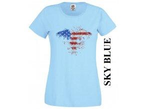 levne-damske-tricko-americka-orlice-svetle-modre