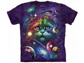 tričko, kočka, zodiac, galaxie, batikované,  potisk