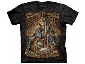 tričko, tesaři, kostlivec, batikované, potisk, mountain