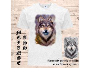 sede tricko vlk samotar uv potisk