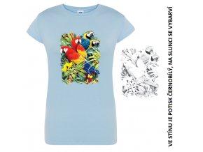 damske-modre-tricko-potisk-papousci-menici-barvu