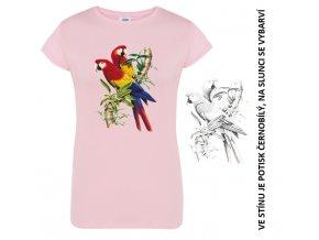 damske tricko ruzove papousek