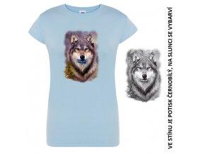 damske tricko modre vlk