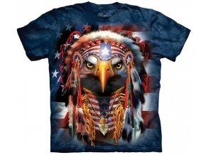 tričko, indián, orel, batikované, potisk, western