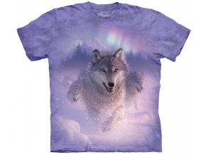 tričko, sněžný vlk, polární záře, batikované, potisk, mountain