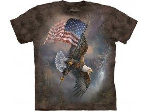 tričko, letící orel, usa vlajka, batikované, potisk, mountain