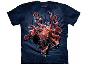 tričko, chobotnice, potisk, batikované, mountain