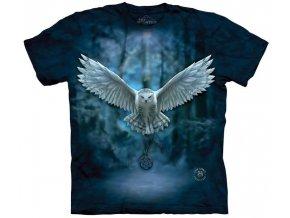 tričko-sova-pentagram-potisk-batikované-magie