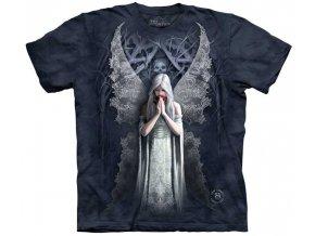 tričko, anděl, gotické, potisk, batikované, mountain