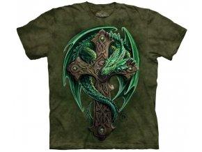 tričko, keltský drak, kříž, potisk, batikované, zelené