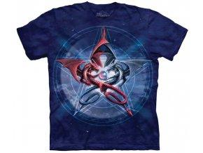 Tričko, drak, pentagram, potisk, batikované, mountain